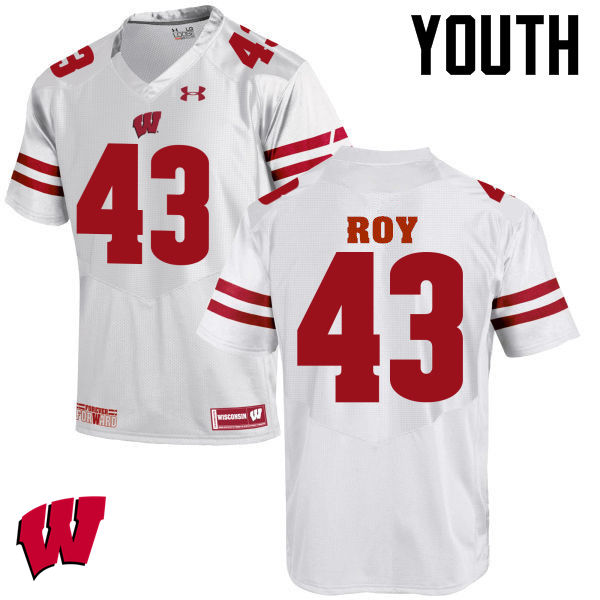 Youth Wisconsin Badgers #43 Peter Roy College Football Jerseys-White