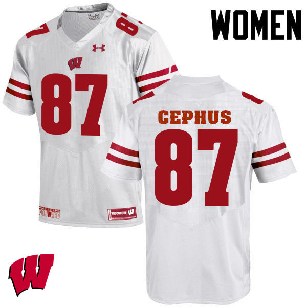 Women Wisconsin Badgers #87 Quintez Cephus College Football Jerseys-White