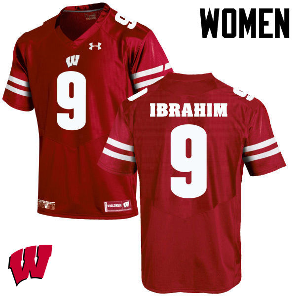 Women Winsconsin Badgers #9 Rachid Ibrahim College Football Jerseys-Red
