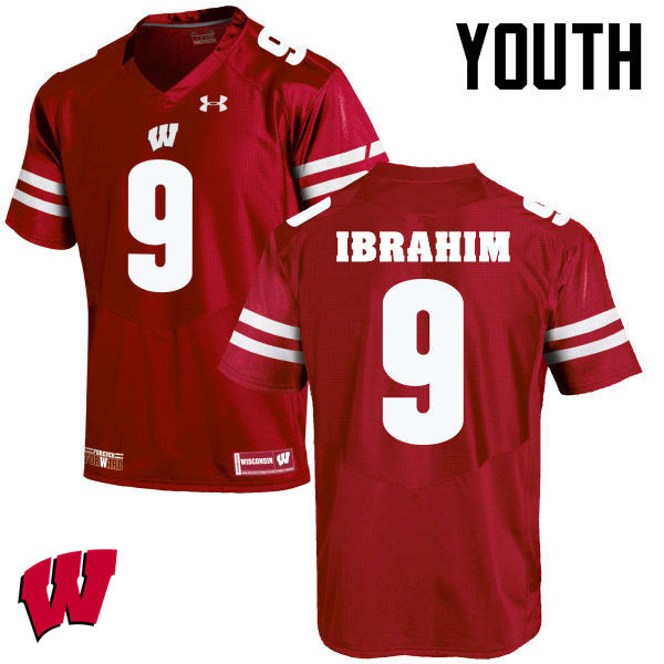 Youth Winsconsin Badgers #9 Rachid Ibrahim College Football Jerseys-Red