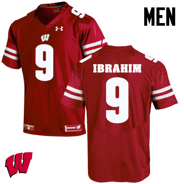 Men Winsconsin Badgers #9 Rachid Ibrahim College Football Jerseys-Red