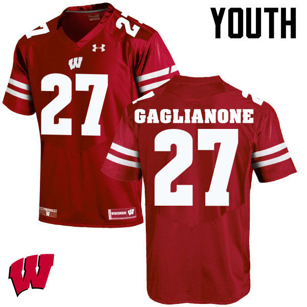 Youth Wisconsin Badgers #27 Rafael Gaglianone College Football Jerseys-Red