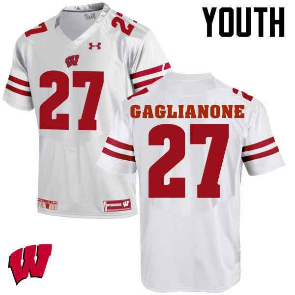 Youth Wisconsin Badgers #27 Rafael Gaglianone College Football Jerseys-White