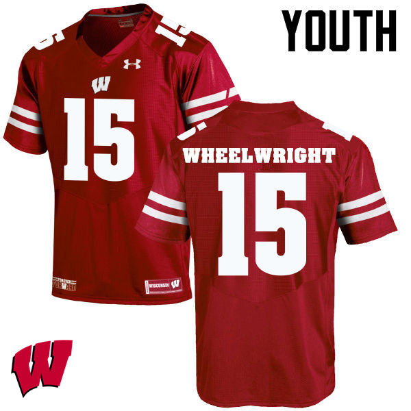 Youth Wisconsin Badgers #15 Robert Wheelwright College Football Jerseys-Red
