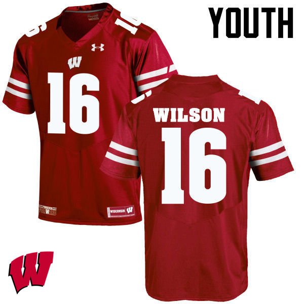 Youth Wisconsin Badgers #16 Russell Wilson College Football Jerseys-Red