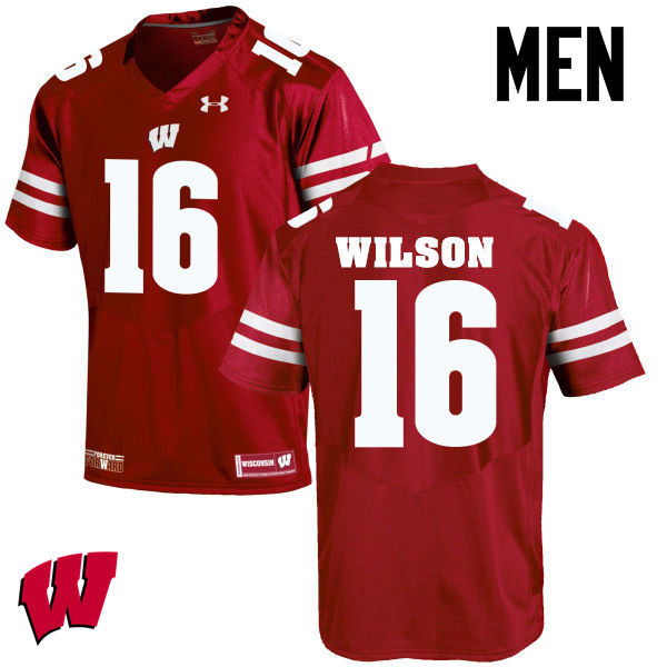 Men Wisconsin Badgers #16 Russell Wilson College Football Jerseys-Red