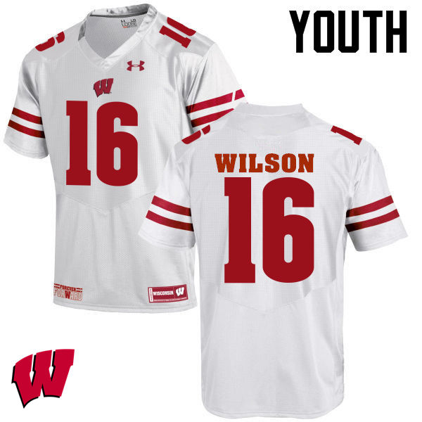 Youth Wisconsin Badgers #16 Russell Wilson College Football Jerseys-White