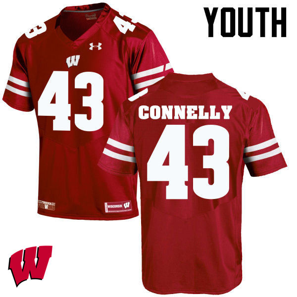 Youth Wisconsin Badgers #43 Ryan Connelly College Football Jerseys-Red