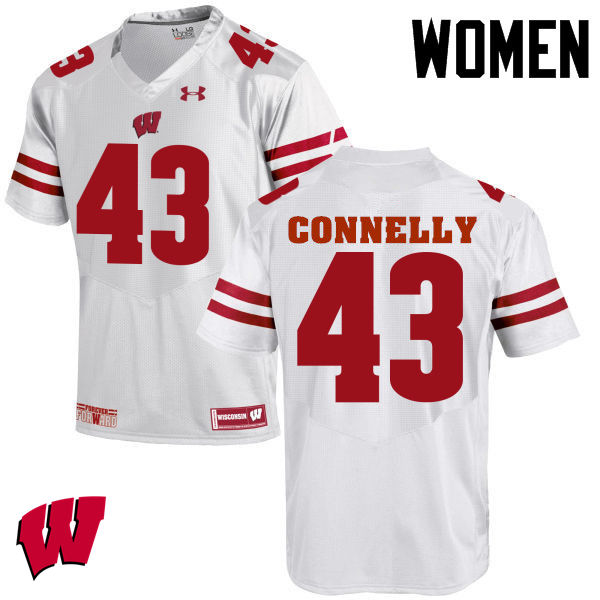 Women Wisconsin Badgers #43 Ryan Connelly College Football Jerseys-White