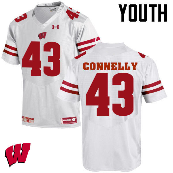 Youth Wisconsin Badgers #43 Ryan Connelly College Football Jerseys-White