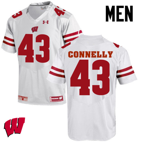 Men Wisconsin Badgers #43 Ryan Connelly College Football Jerseys-White