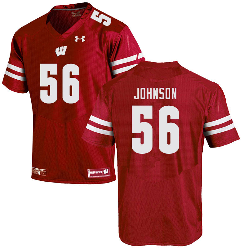 Men #56 Rodas Johnson Wisconsin Badgers College Football Jerseys Sale-Red
