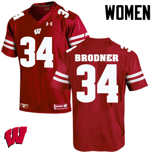 Women Wisconsin Badgers #34 Sam Brodner College Football Jerseys-Red