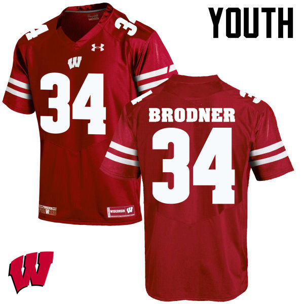 Youth Wisconsin Badgers #34 Sam Brodner College Football Jerseys-Red
