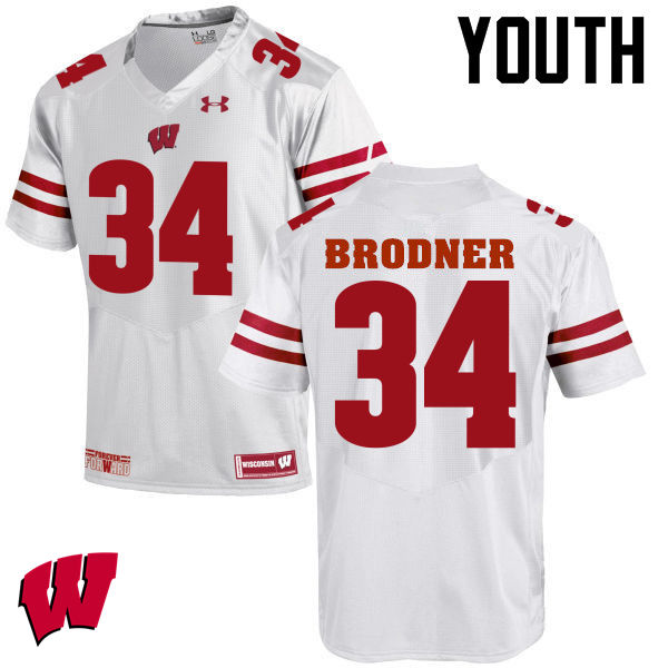 Youth Wisconsin Badgers #34 Sam Brodner College Football Jerseys-White