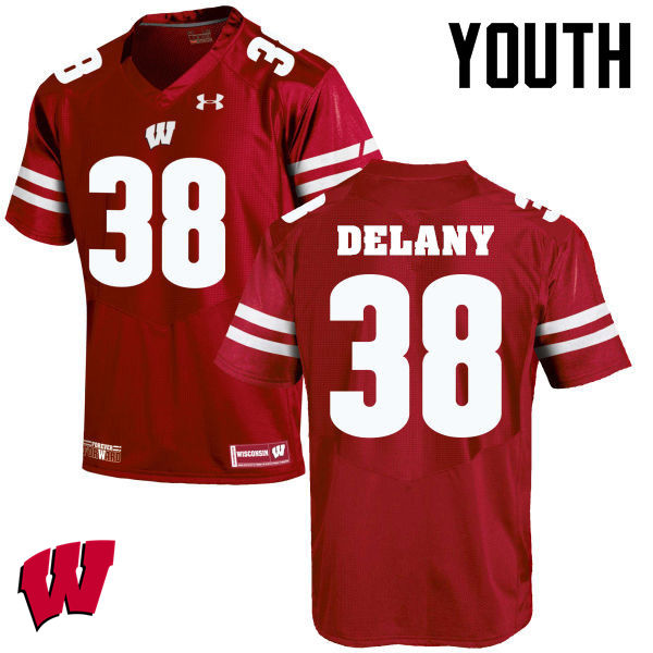 Youth Winsconsin Badgers #38 Sam DeLany College Football Jerseys-Red