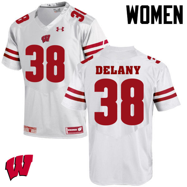 Women Winsconsin Badgers #38 Sam DeLany College Football Jerseys-White