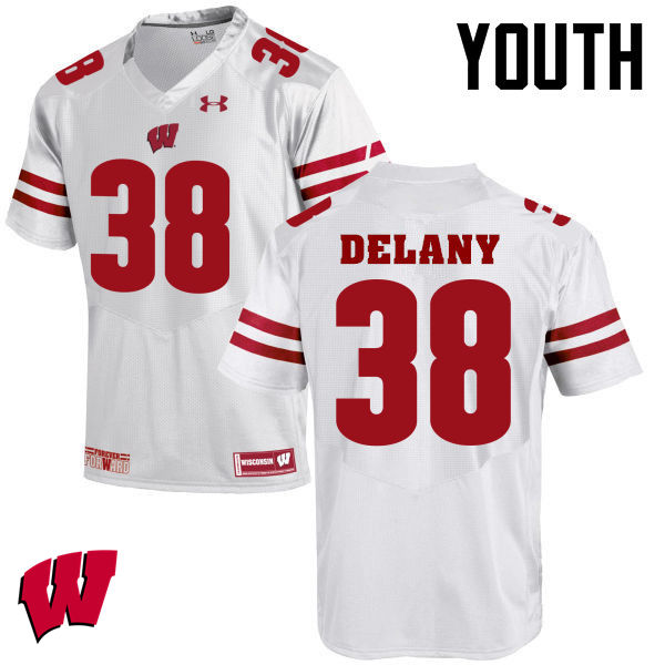 Youth Winsconsin Badgers #38 Sam DeLany College Football Jerseys-White