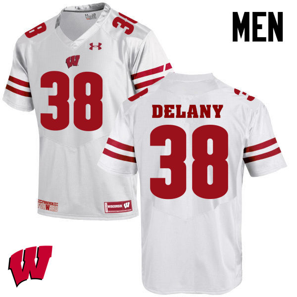 Men Winsconsin Badgers #38 Sam DeLany College Football Jerseys-White