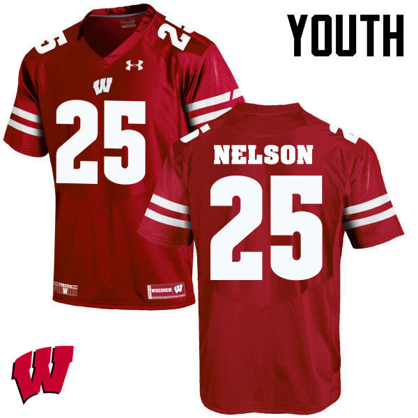 Youth Winsconsin Badgers #25 Scott Nelson College Football Jerseys-Red