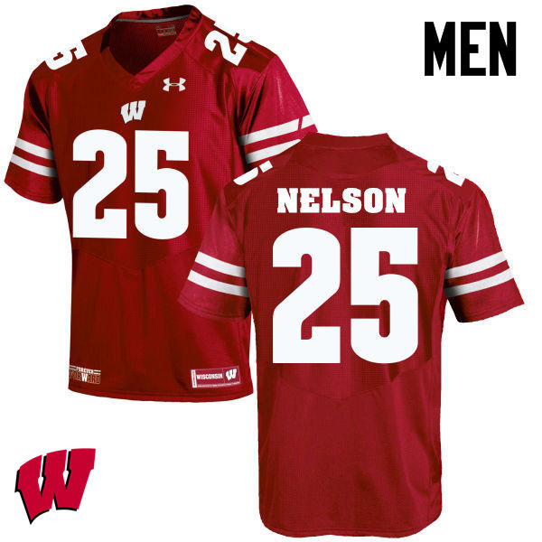 Men Winsconsin Badgers #25 Scott Nelson College Football Jerseys-Red
