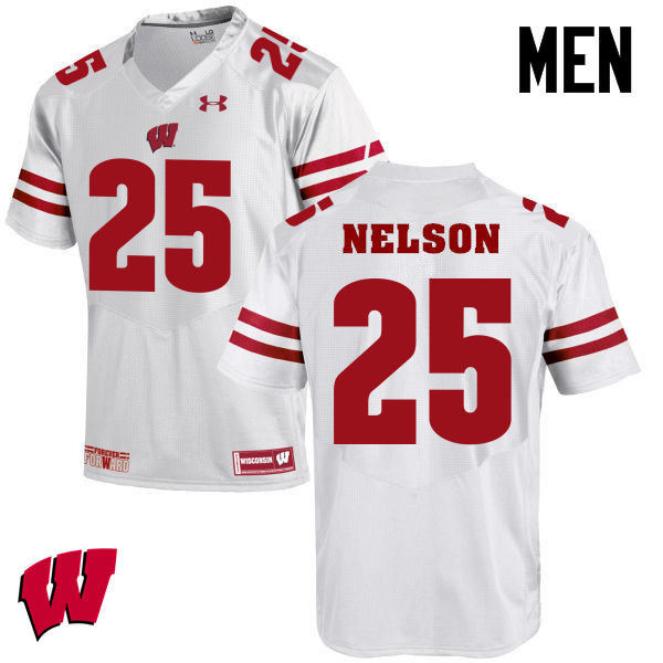 Men Winsconsin Badgers #25 Scott Nelson College Football Jerseys-White