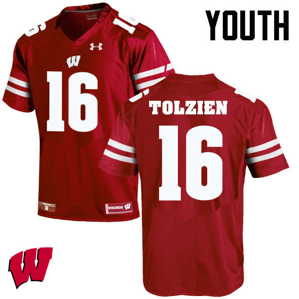 Youth Winsconsin Badgers #16 Scott Tolzien College Football Jerseys-Red