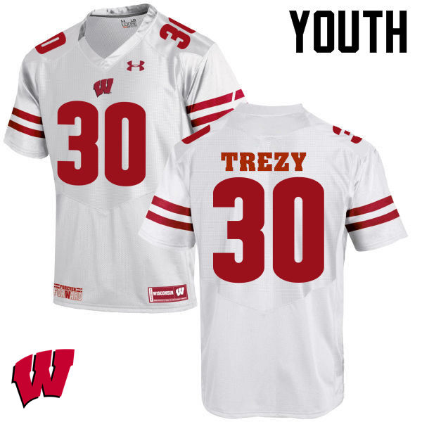Youth Wisconsin Badgers #30 Serge Trezy College Football Jerseys-White