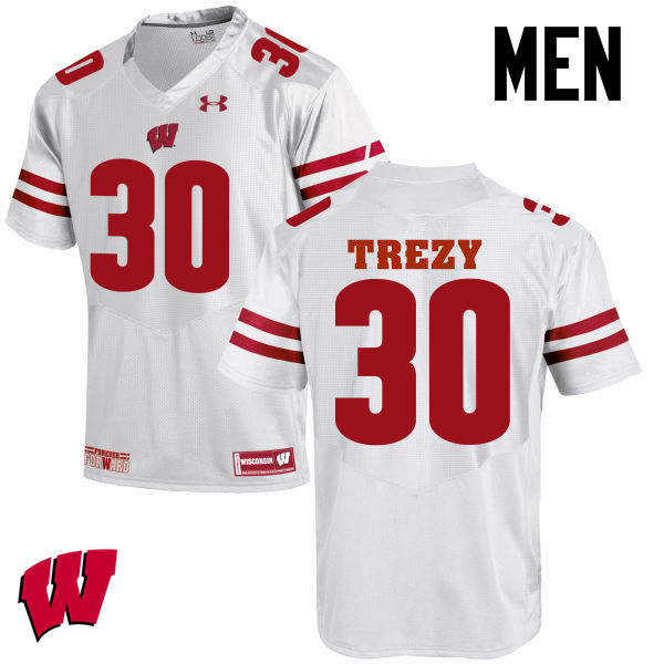 Men Wisconsin Badgers #30 Serge Trezy College Football Jerseys-White