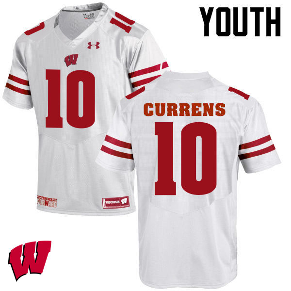 Youth Wisconsin Badgers #10 Seth Currens College Football Jerseys-White