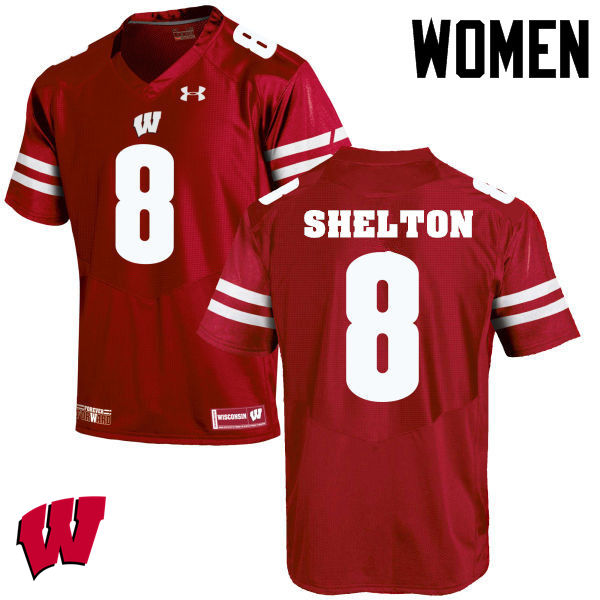 Women Wisconsin Badgers #8 Sojourn Shelton College Football Jerseys-Red
