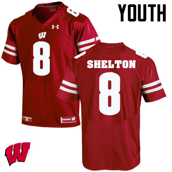 Youth Wisconsin Badgers #8 Sojourn Shelton College Football Jerseys-Red