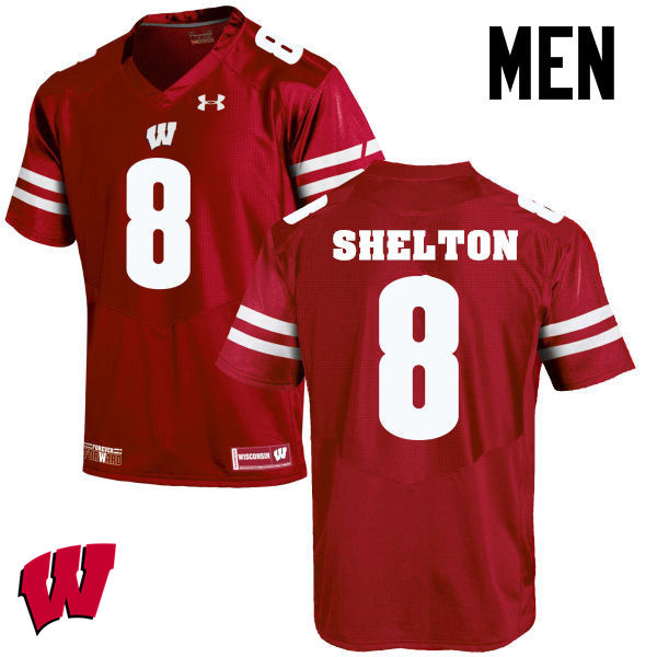 Men Wisconsin Badgers #8 Sojourn Shelton College Football Jerseys-Red