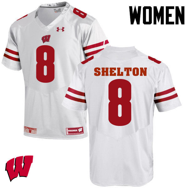 Women Wisconsin Badgers #8 Sojourn Shelton College Football Jerseys-White