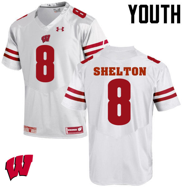 Youth Wisconsin Badgers #8 Sojourn Shelton College Football Jerseys-White