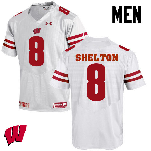 Men Wisconsin Badgers #8 Sojourn Shelton College Football Jerseys-White