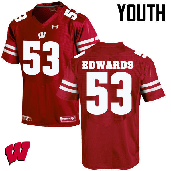 Youth Wisconsin Badgers #53 T.J. Edwards College Football Jerseys-Red