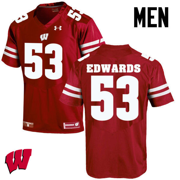 Men Wisconsin Badgers #53 T.J. Edwards College Football Jerseys-Red