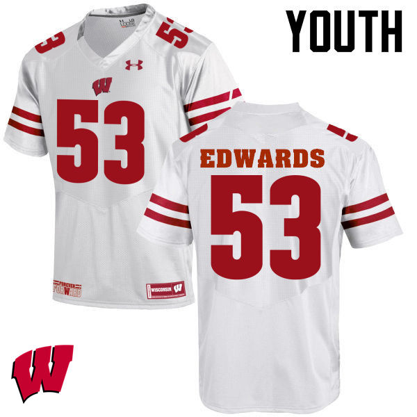 Youth Wisconsin Badgers #53 T.J. Edwards College Football Jerseys-White
