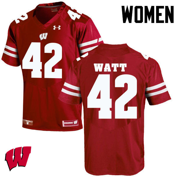 Women Wisconsin Badgers #42 T.J. Watt College Football Jerseys-Red