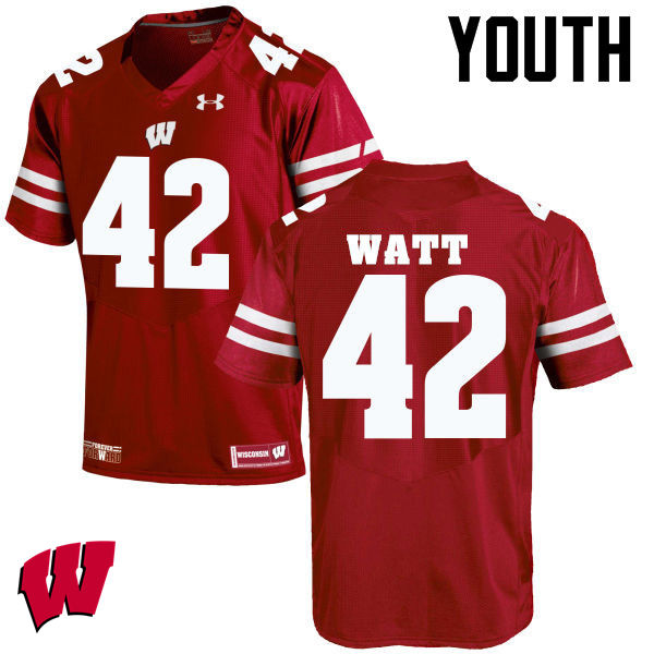 Youth Wisconsin Badgers #42 T.J. Watt College Football Jerseys-Red