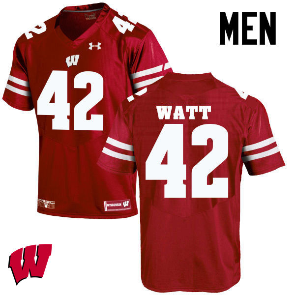 Men Wisconsin Badgers #42 T.J. Watt College Football Jerseys-Red