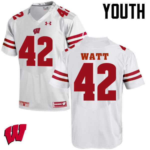 Youth Wisconsin Badgers #42 T.J. Watt College Football Jerseys-White