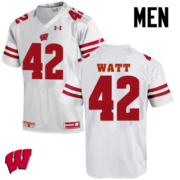 Men Wisconsin Badgers #42 T.J. Watt College Football Jerseys-White