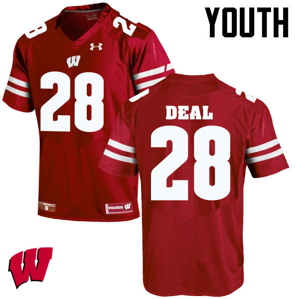 Youth Wisconsin Badgers #28 Taiwan Deal College Football Jerseys-Red