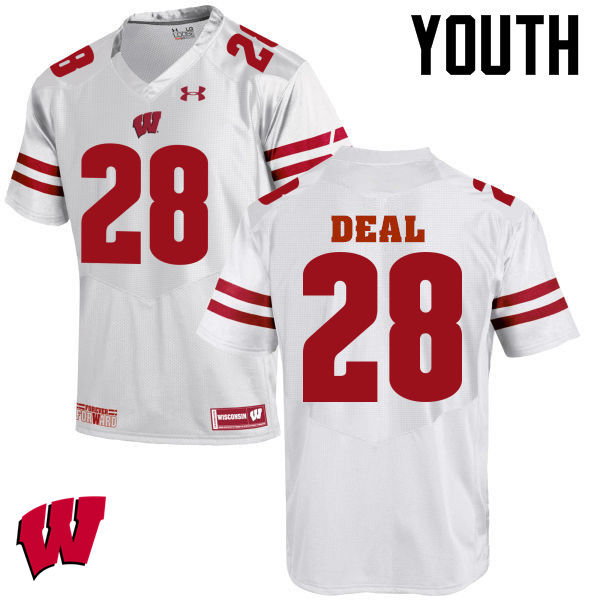 Youth Wisconsin Badgers #28 Taiwan Deal College Football Jerseys-White