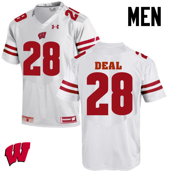 Men Wisconsin Badgers #28 Taiwan Deal College Football Jerseys-White
