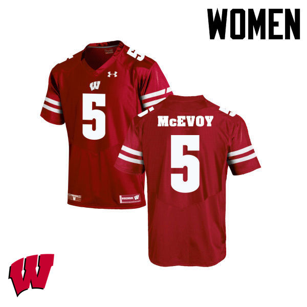 Women Winsconsin Badgers #5 Tanner McEvoy College Football Jerseys-Red
