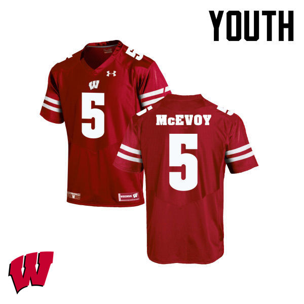 Youth Winsconsin Badgers #5 Tanner McEvoy College Football Jerseys-Red