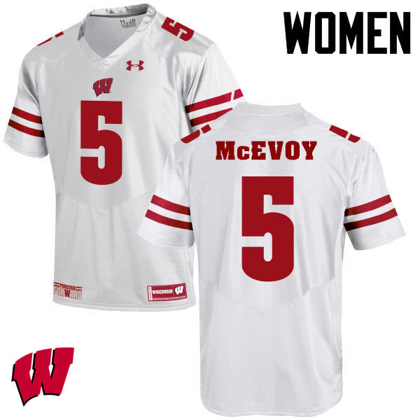 Women Winsconsin Badgers #5 Tanner McEvoy College Football Jerseys-White